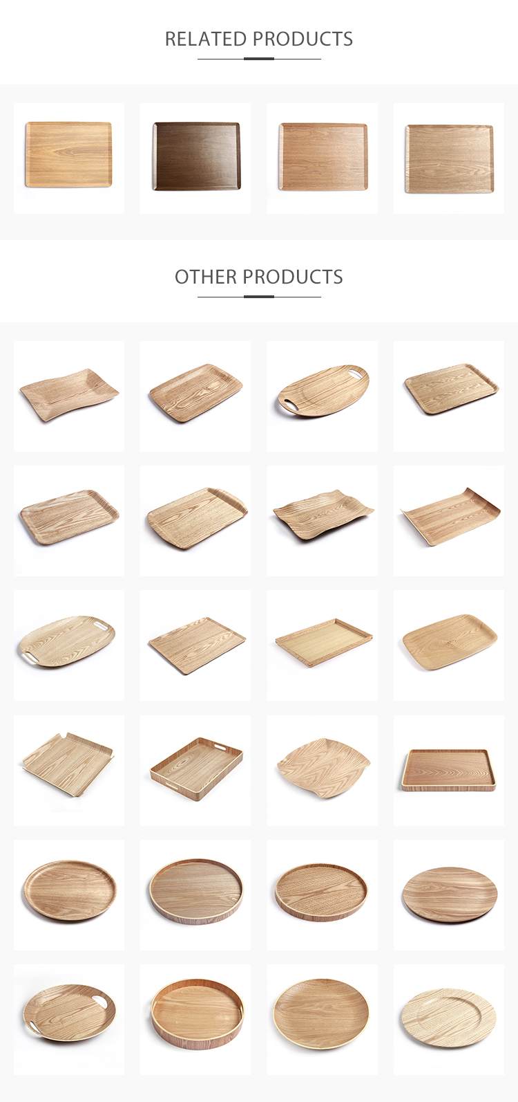 Wholesale Rectangle Large Bent Wooden Non-slip Breakfast Serving Tray Food Tea Tray