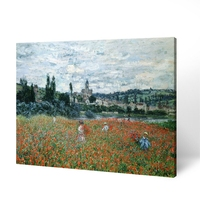 Impressionist Claude Monet Poppy Flower Natural Village Scenery Oil Painting On Canvas