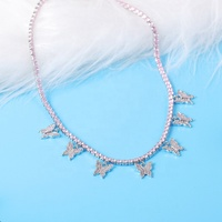 wholesale white cz butterfly Necklace 3mm diamond silver jewelry butterfly tennis necklace