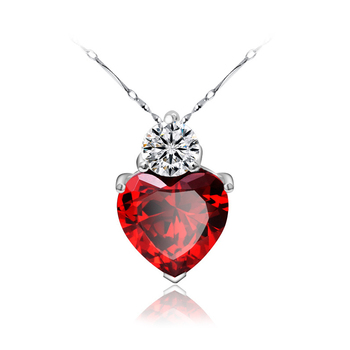 925 sterling silver red heart ruby crystal stone zircon pave pendant for women