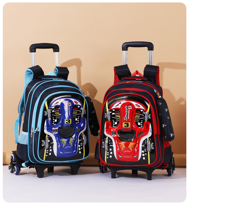 Waterproof cartoon kids school backpack car shape trolley bag