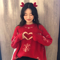 Christmas Fashion Women Soft Wool Loose Stylish Red Pullover Sweater
