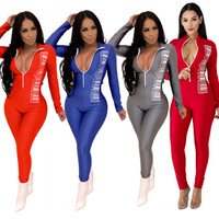 Ecoparty Women Figure Print Zip Up turn down long sleeve bodycon skinny jumpsuit sexy club romper outfit 4 colors