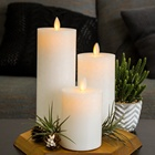 moving flame yellow flickering smooth D3'' pillar flat white paraffin wax home decoration holiday led wax candle