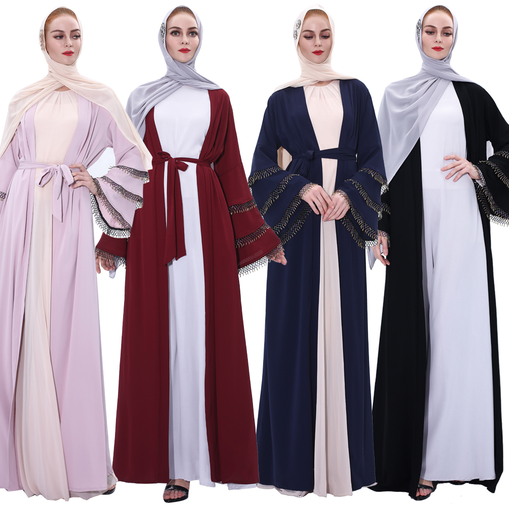 New luxury crystal handmade colorful beads trim flare sleeves muslim women abaya polyester dress