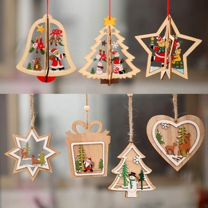 Christmas Tree Hanging Ornaments Decorations Wooden Hanging Tags Pendant Ornaments for Christmas Decorations