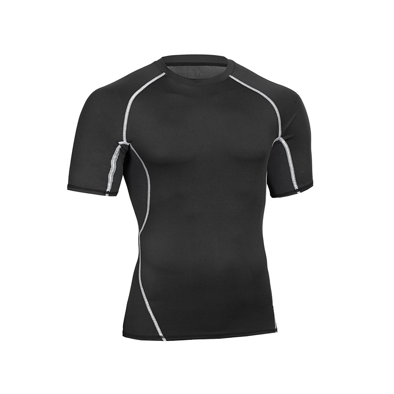 Custom Logo Wholesale Men's Sport Wear Compression Quick Dry Running Athletic Workout Short Sleeve T Shirts 6