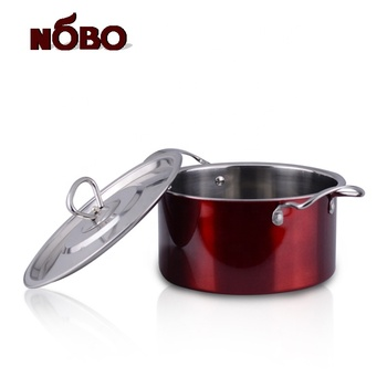 Wholesale kitchen cookware set of 3 stainless steel pot with color printed