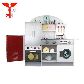Contemporary kids wooden kitchen toy set for girls