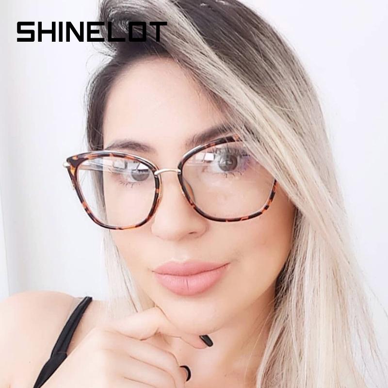 SHINELOT новейшая Женская оправа для очков, металлическая оправа, анти-синий свет, очки, оптическая оправа, легкие оправы для очков, готовые в наличии