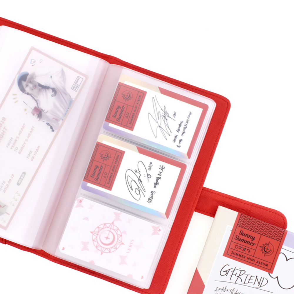 *PU Leather Cover with Transparent PVC Cards Holder Book with 60 cards slot