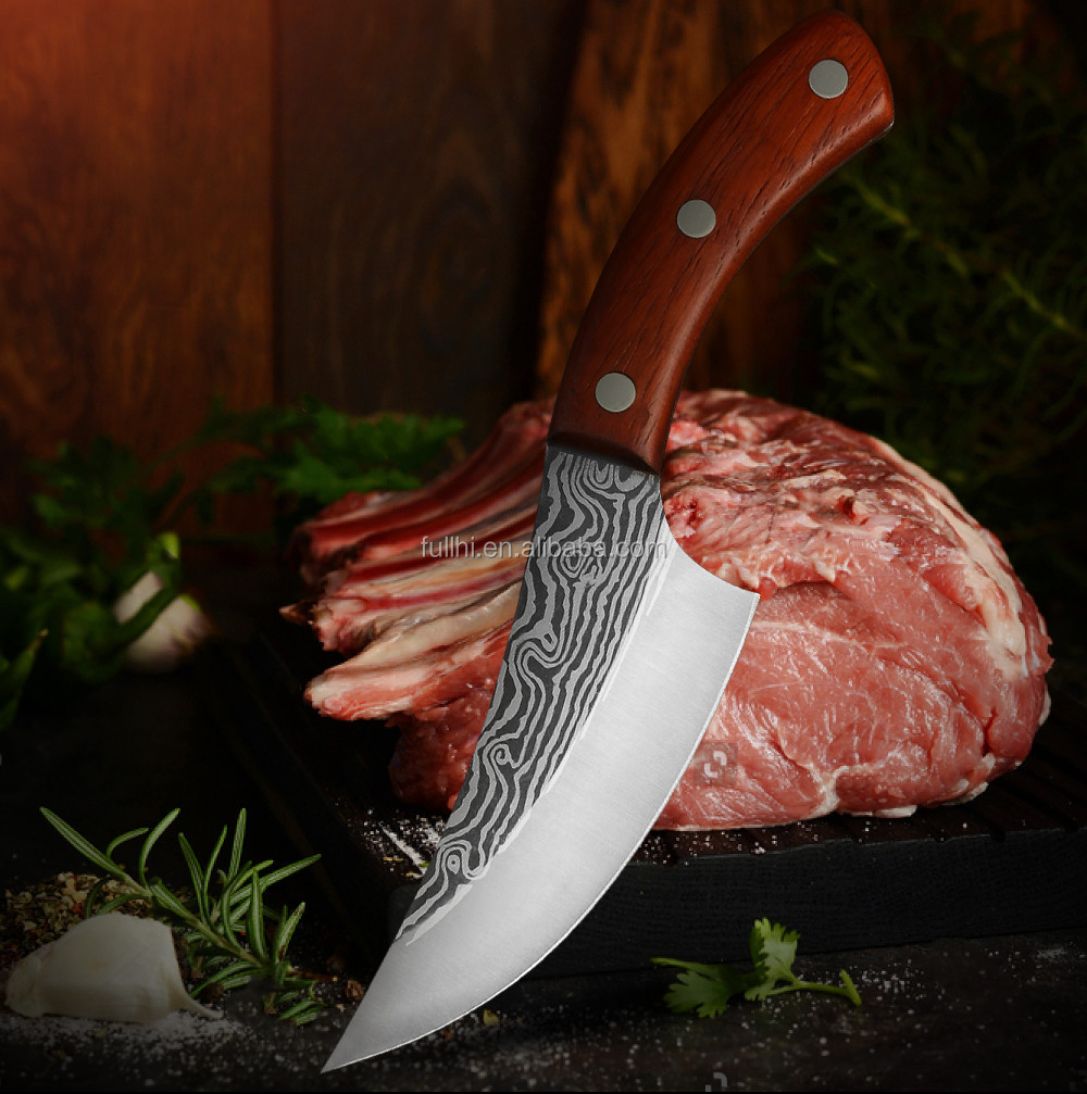 Factory 5.5 inch Full Tang Handle 5mm Thick Butcher Outdoor Serbian Hunting Damascus Laser Pattern Blade Boning Knife
