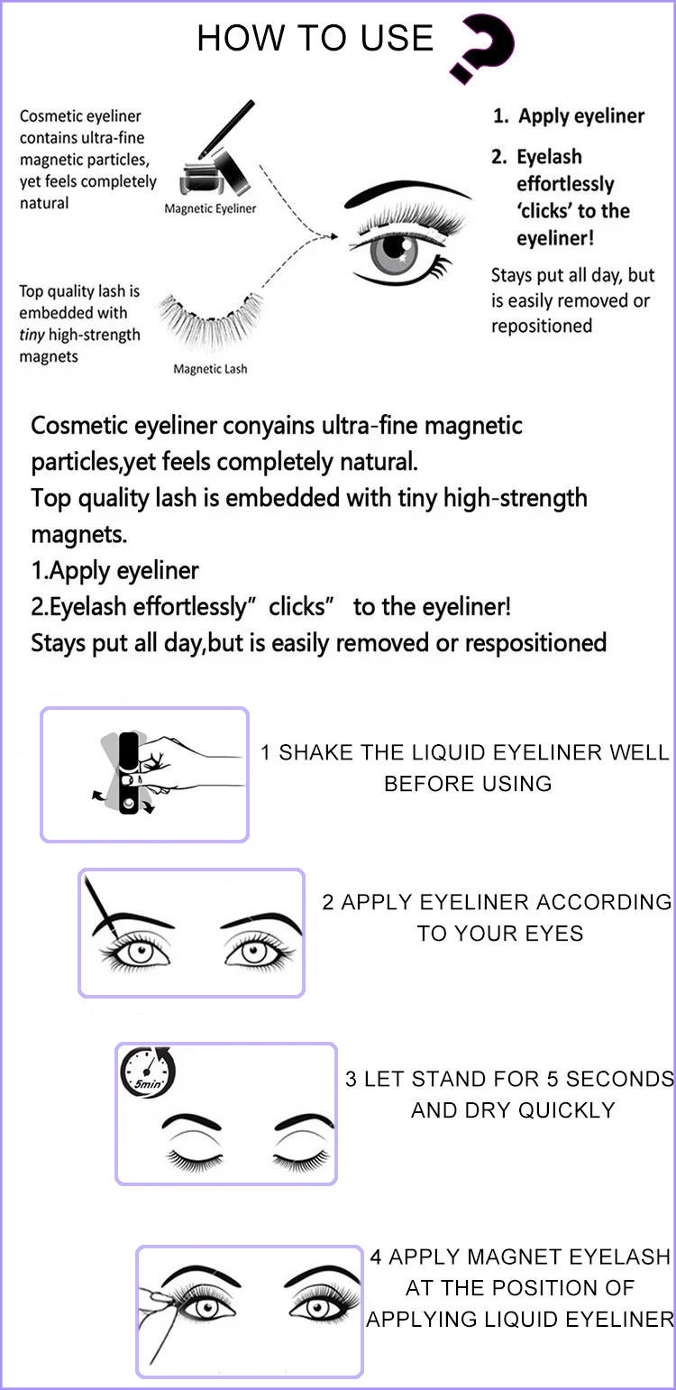 Wholesale custom magnetic eyeliner, magnetic eyeliner and magnetic eyelash set
