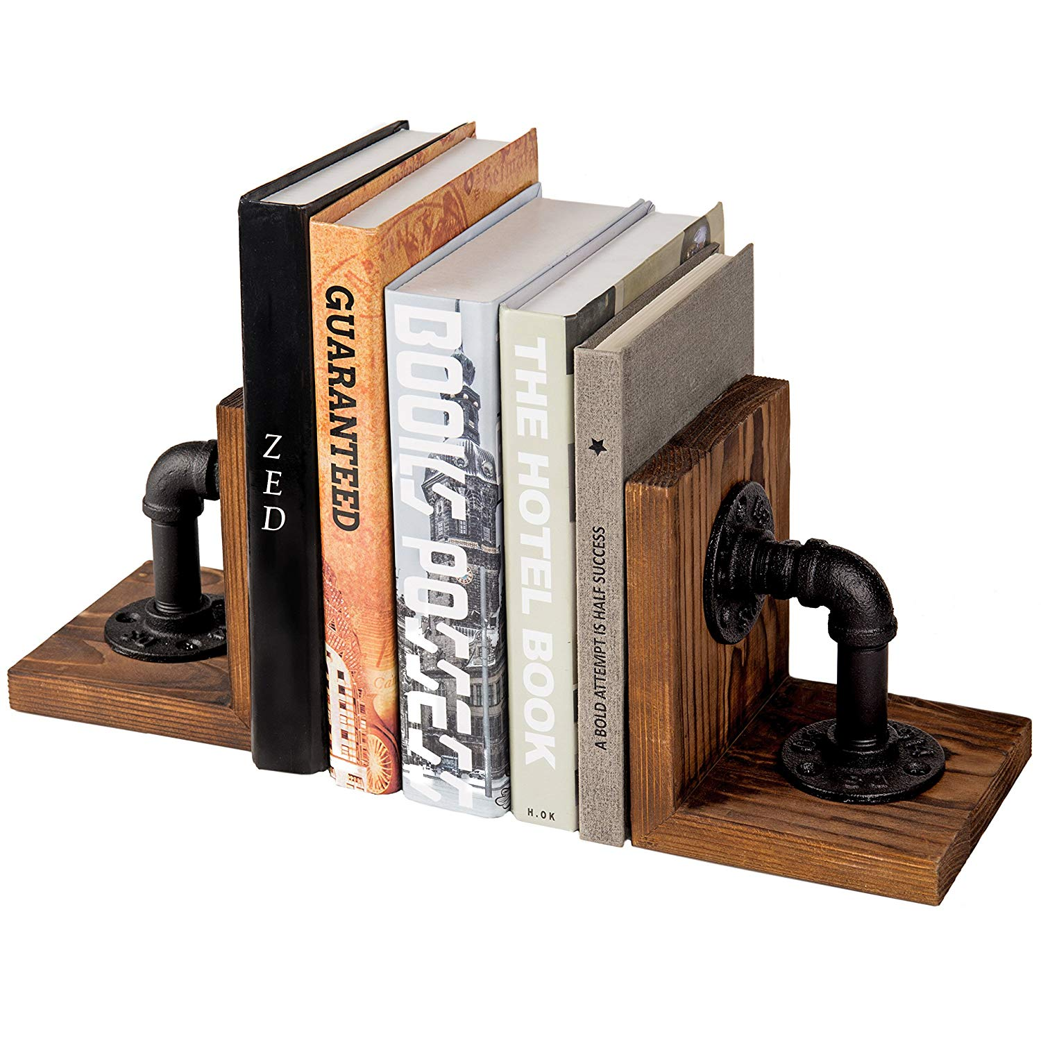 Industrial Style Pipe and Rustic Wood Tabletop Bookends, Set of 2