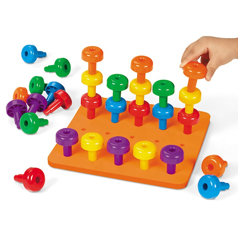 Amazon hot sell educational toys colorful peg board stacking toddler toys educational children toys
