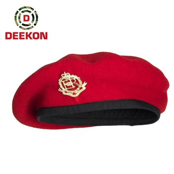 100% wool red color beret with fashion design