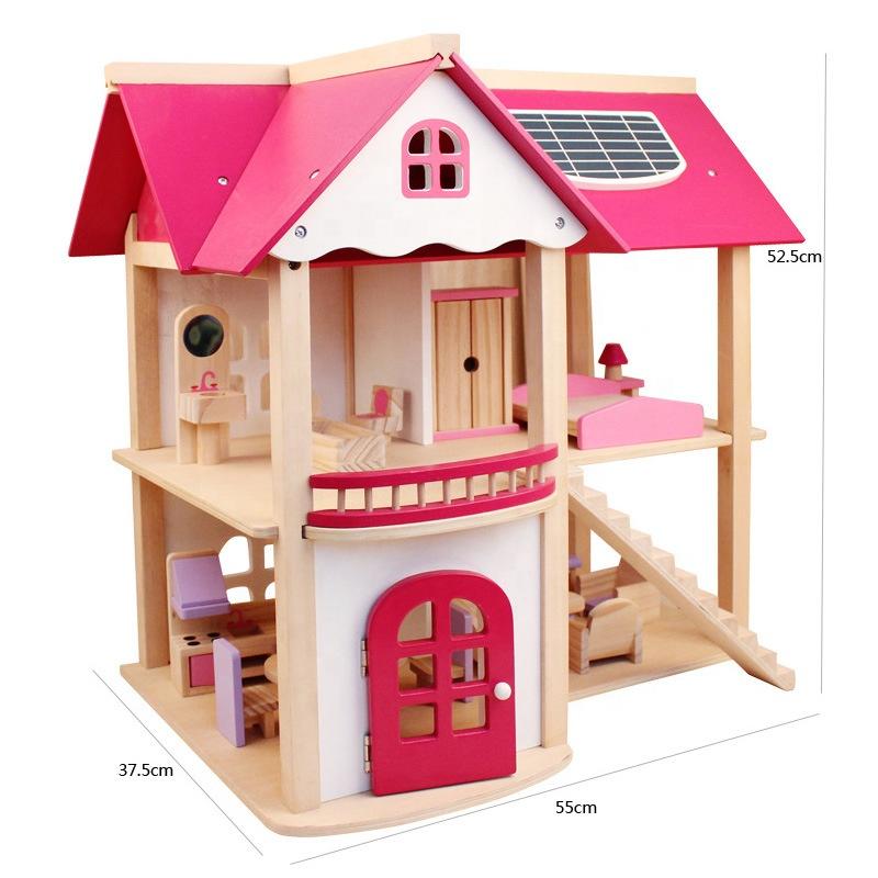 لعب اطفال إبداعية كبيرة الأطفال هدية عيد ميلاد بيت الدمى مع الأثاث الخشبية اليدوية دمى DIY المنزل لعبة