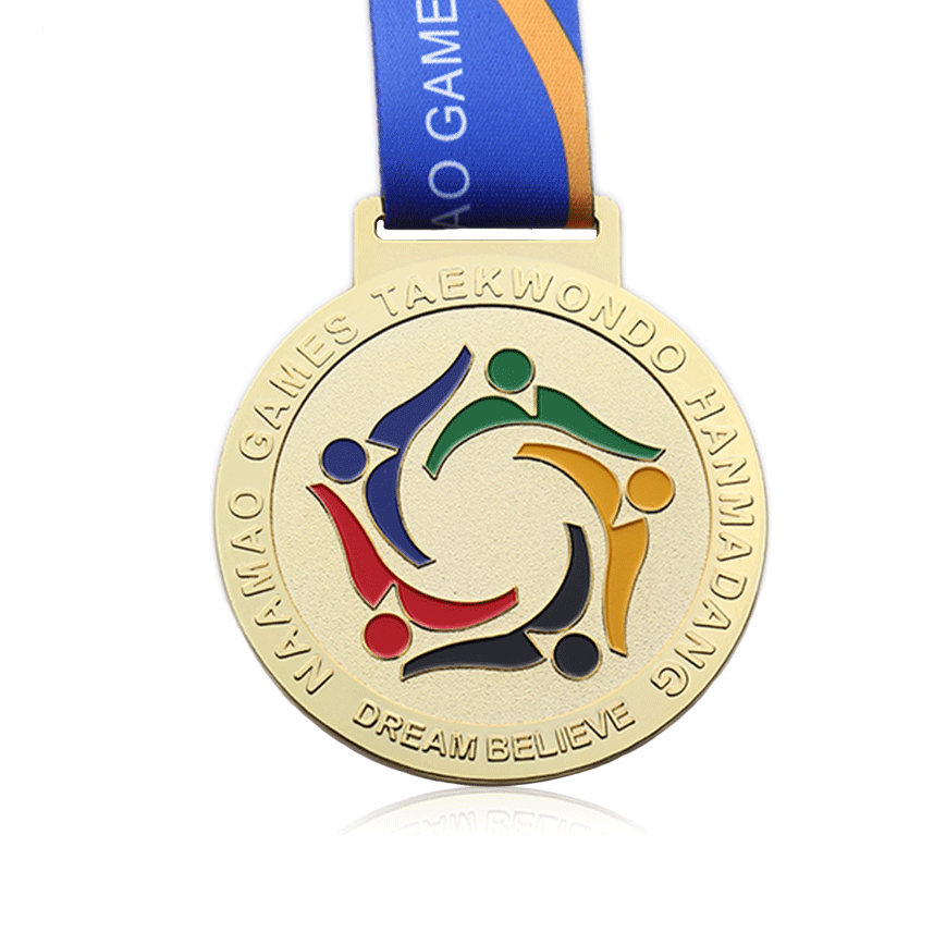 Wholesale cheap Die cut gold silver brass embossed own design custom taekwondo medal for sports