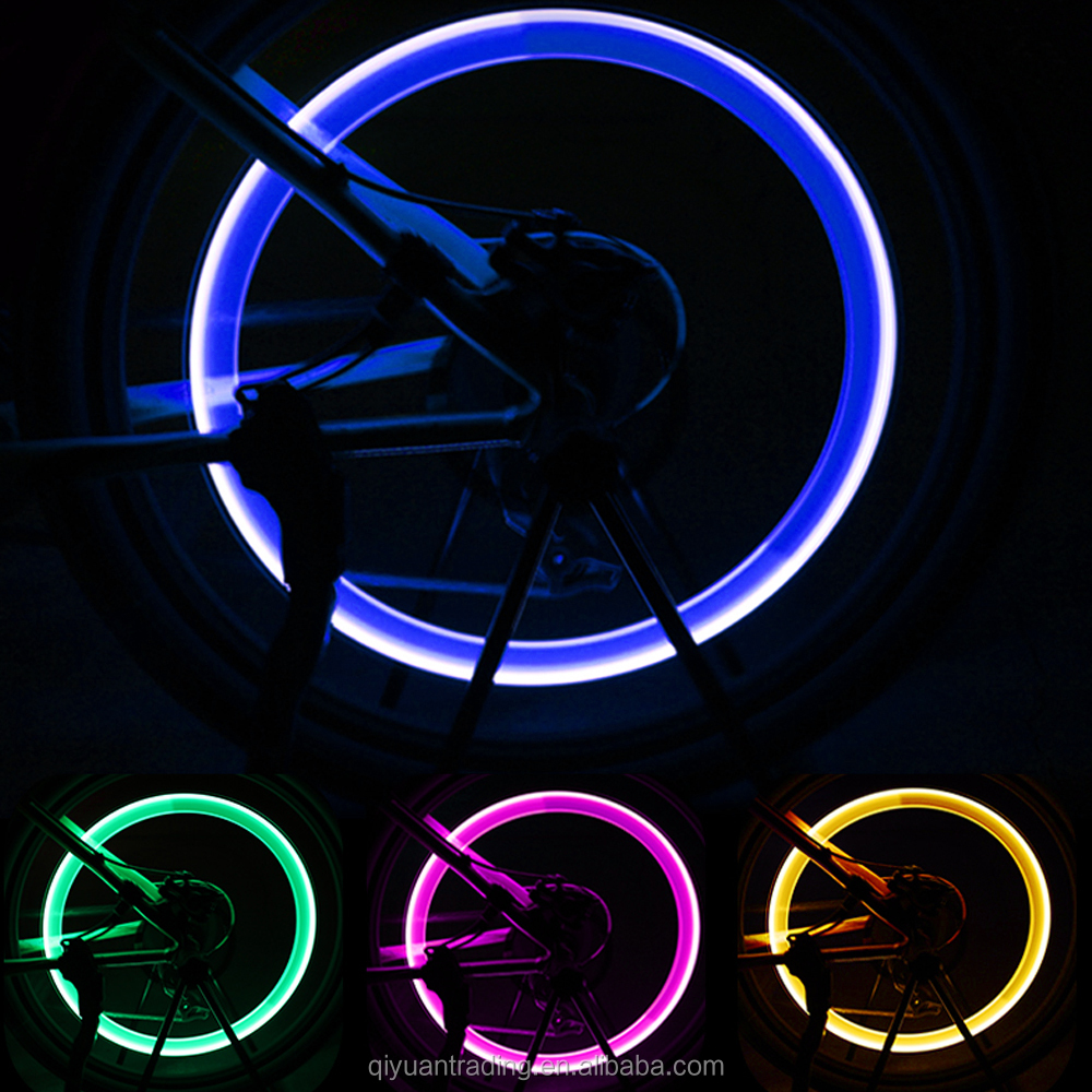 QY Car Wheel LED Light  Bike Light Tire Valve Cap Decorative Lantern Tire Valve Cap Flash Spoke Neon Lamp