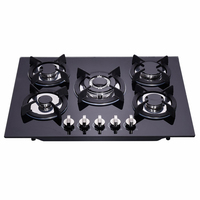 5 Burner China Gas Kitchen Stove Tempered Glass Cooktop Cooking Appliances