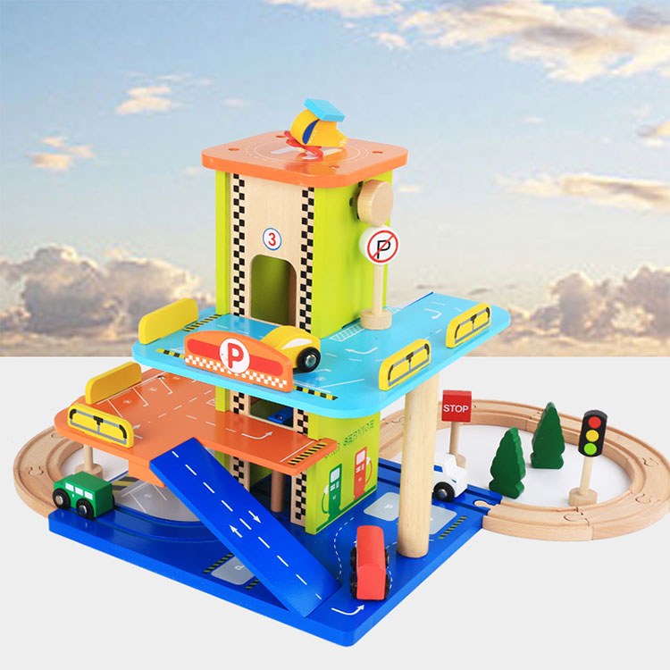 Multifunction Three floor luxurious wooden parking garage racing car parking lot model construct toy set