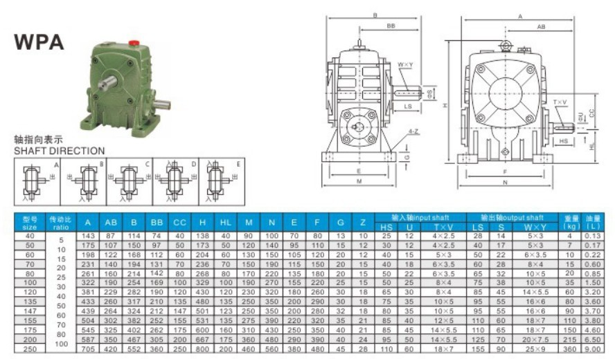WP series worm gearbox speed reducer wpa speed reducer china wpa series worm gearbox worm gear transmission