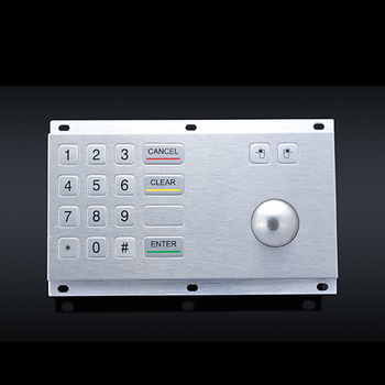 IP65 industrial metal keypad with trackball