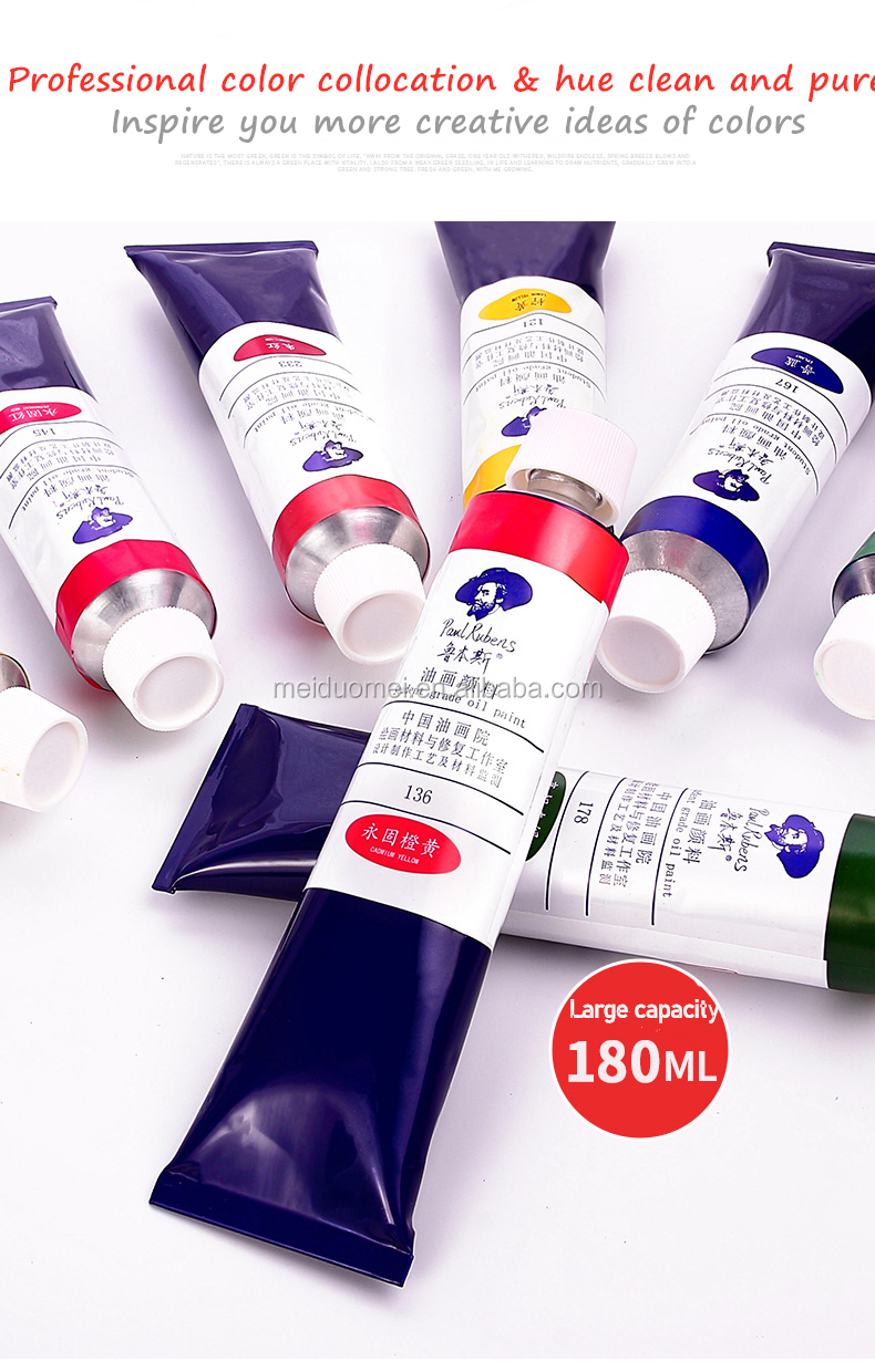 180 ML Paul Rubens Student Grade 60 Colors Aluminum Tubes Oil Paint For Painting