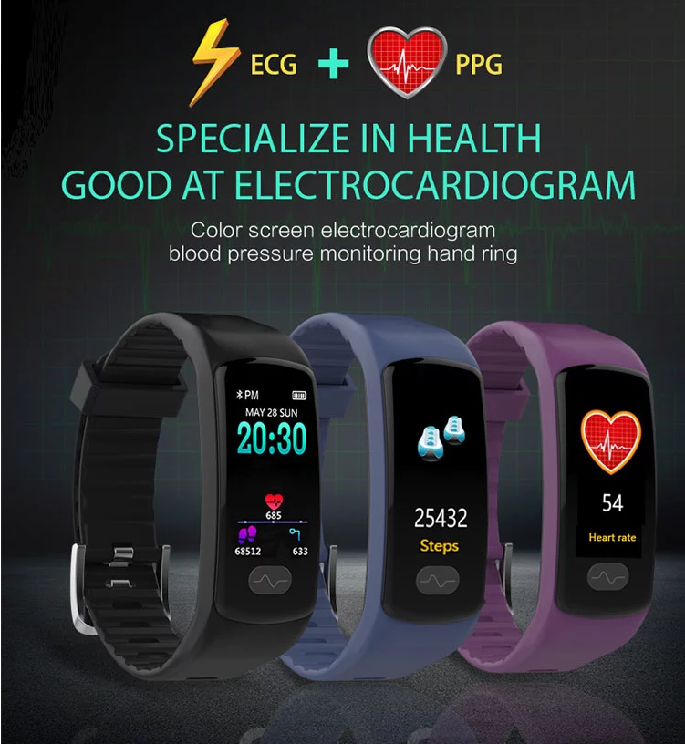 New Design Christmas Gift ECG+PPG Smart Watch E07 USB Charging Touch Screen Remote Camera Smart Bracelet for Men and Women