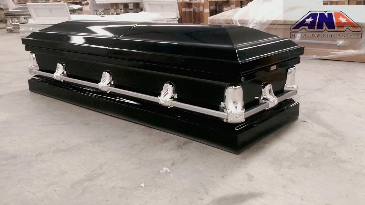 ANA China accessoris hot sale black finish funeral supplies 20 ga steel metal coffin casket