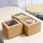 Thick Sturdy Brown Mini Cake Dessert Pastry Bakery Treat Kraft Paper Boxes With Window