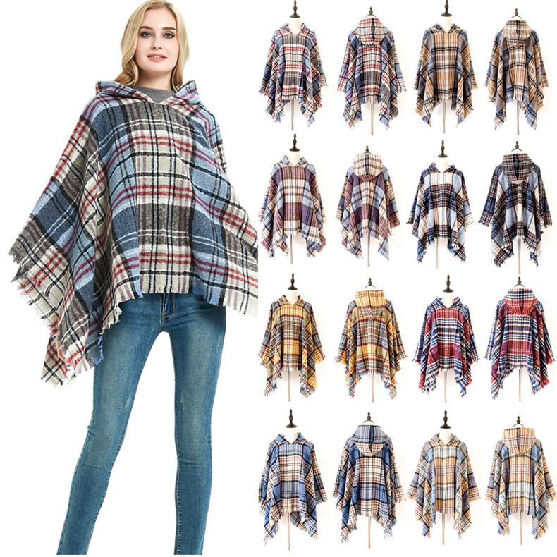 Plaid Blanket Scarf Womens Large Shawl or Wrap For Winter Spring or Autumn