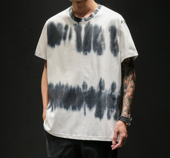 New tie dye men's tops longline sublimation tie dye t-shirt black and white