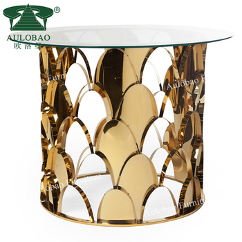 luxury gold stainless steel metal glass top dining table set/coffee table