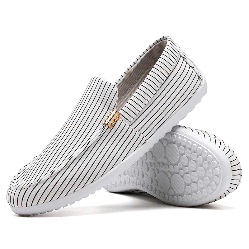 Lightweight Boat Barefoot Moccasins Low Top Plain Striped White Slip On Canvas Shoes For Men Driving