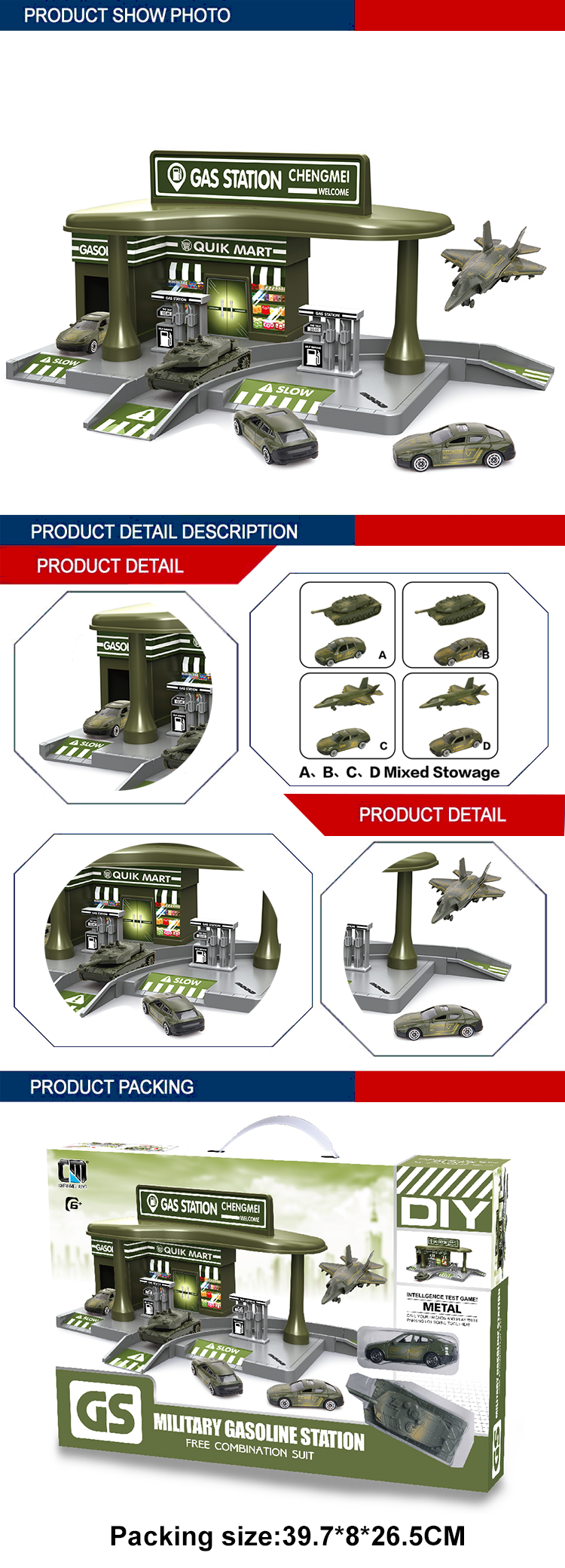 slide vehicle gas station parking lot kids military toys