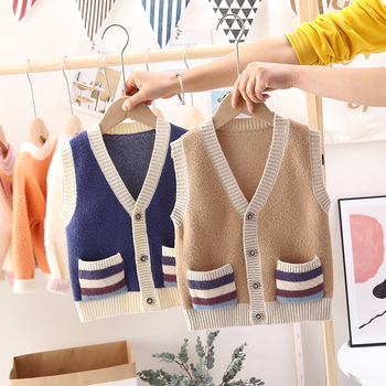 new Spring/Autumn kids sweaters Girls AND Boys Vest Tops children fashion sleeveless Outerwear Fall