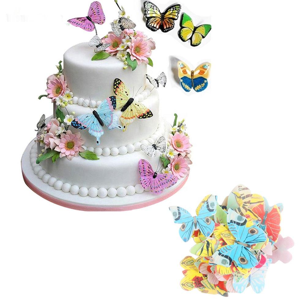 300 개/상자 pcs 혼합 나비 꽃 식용 찹쌀 웨이퍼 쌀 종이 컵케익 Toppers 케이크 장식 생일 웨딩 C