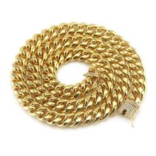 Hips Hops Rock Jewelry 18K Gold Plated Cuban Chain Necklace Iced Out CZ Zircon Link Necklaces For Men