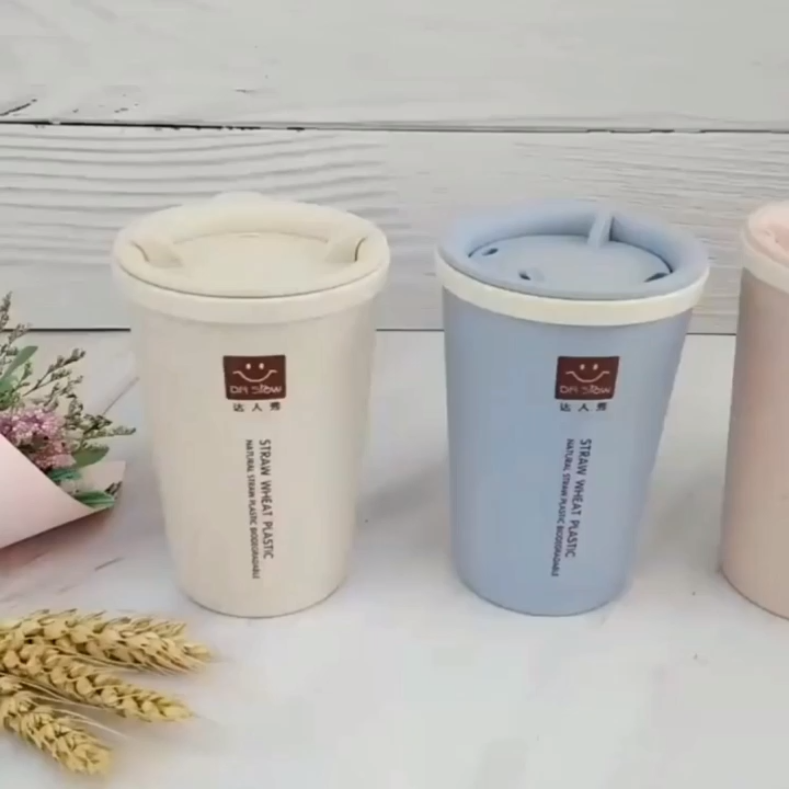Özel kullanımlık seyahat kupalar biyobozunur buğday samanı çevre dostu kahve fincanı