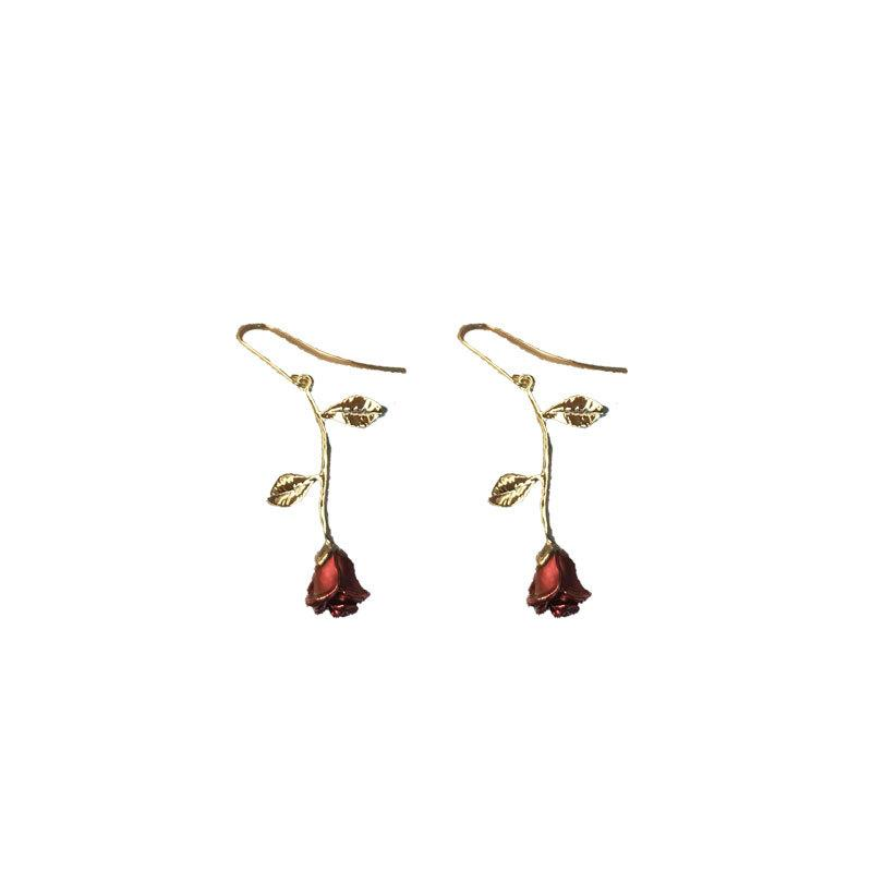 Fashion Alloy Red <strong>Rose</strong> <strong>Flower</strong> Hook <strong>Earrings</strong> For Women