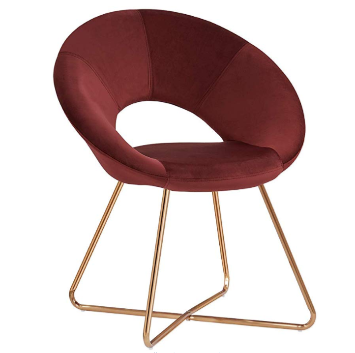 public curved velvet fabric lounge metal stainless steel pu leather living room modern luxury leisure dining chair
