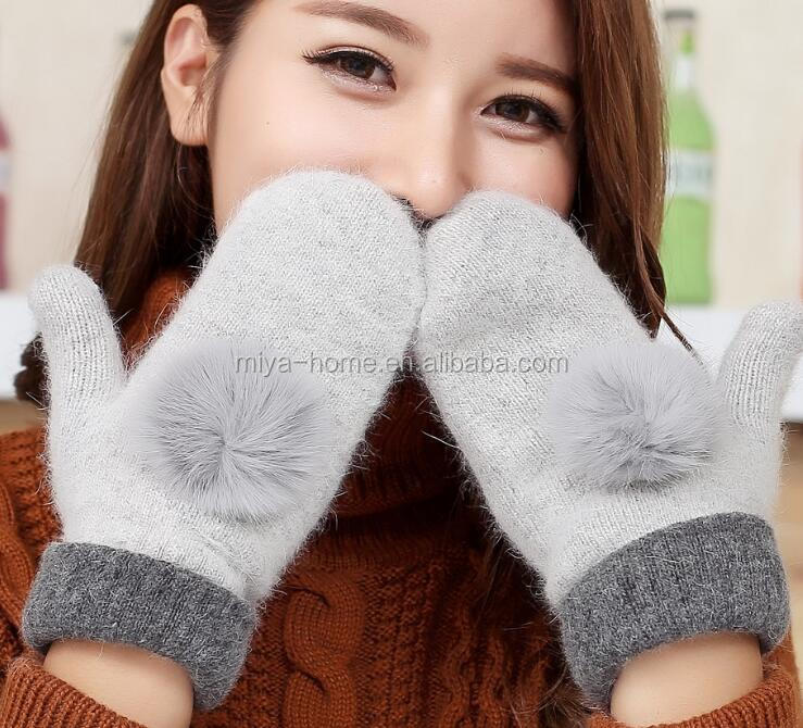 Winter wool ladies warm gloves / with rabbit hair ball double thick warm mittens