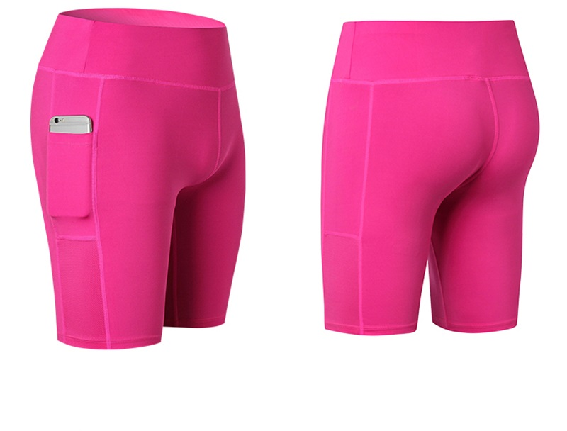 OEM Custom Logo Women's Shorts wIth Phone Pocket Compression Fitness Skinny Shorts
