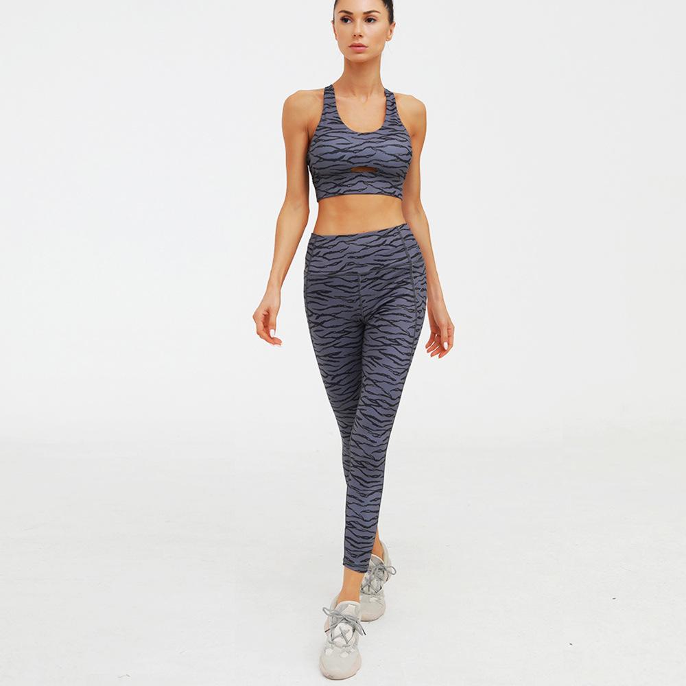 Factory OEM sublimation design new yoga set  women printed sport legging and top