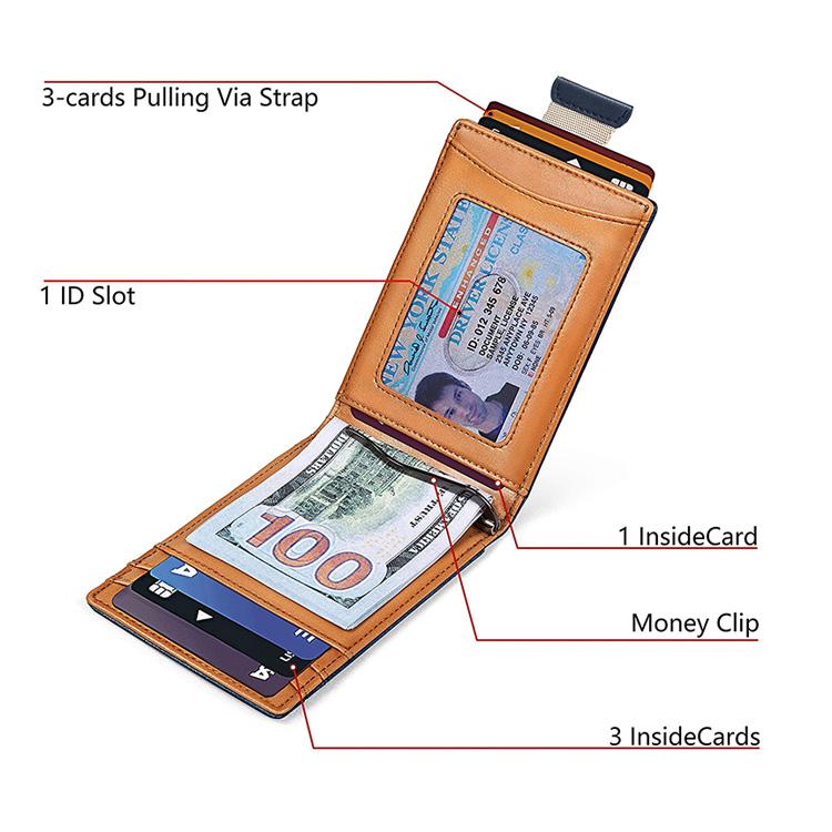 Amazon Custom Design Minimalist Slim Card Holder Mental Carbon Fiber Leather RFID Blocking Money Clip Bifold Wallet For Men