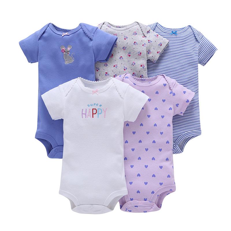 2020 Pasgeboren Baby Meisjes Kleding Korte Mouw Peuter Rompertjes Jongens '100% Biologisch Katoen