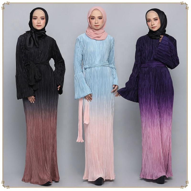 Dubai Desain Baru Gaun Maxi Lipit Lengan Berkobar Gaun Maxi Muslim Turki Cantik Pakaian Muslim Wanita Abaya