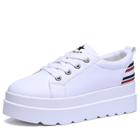 Women's shoes with platform shoes and shoes with small white leather PU sole