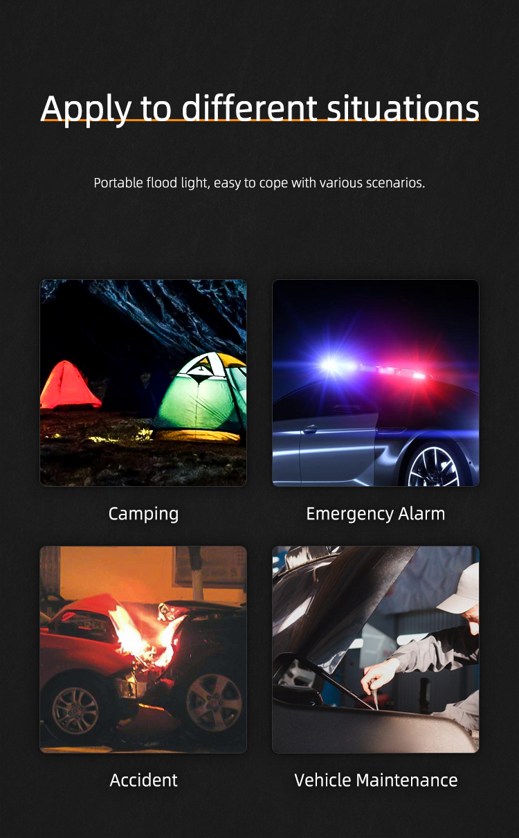 New Portable Multi Usb Power Bank Signal Warning Light Rechargeable LED Outdoor Camping Handle Lighting Solar Spotlight